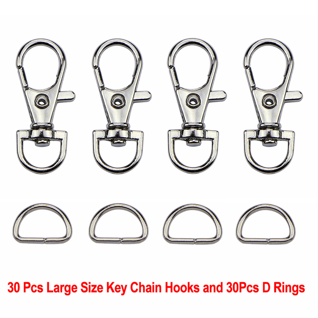 60Pcs/Set Silver Metal Lobster Trigger Swivel Clasp Hooks Clip Buckle For Bag Parts & Accessories (30pcs Clasps +30pcs D Ring )