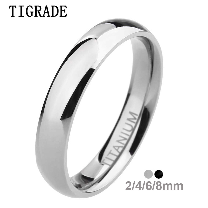 TIGRADE 2/4/6/8mm Mens Wedding Band Polished Women Titanium Simple Engagement Classic Rings Black Silver Color Lady anel 3-15