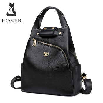 FOXER Brand Ladies Preppy Style Backpacks Female Genuine Cow Leather Backpack Girl's School Bags Women Fashion Travel Bag popular rock style natural sheepskin women backpack fashion rivets women s travel bags casual patchwork genuine leather bag