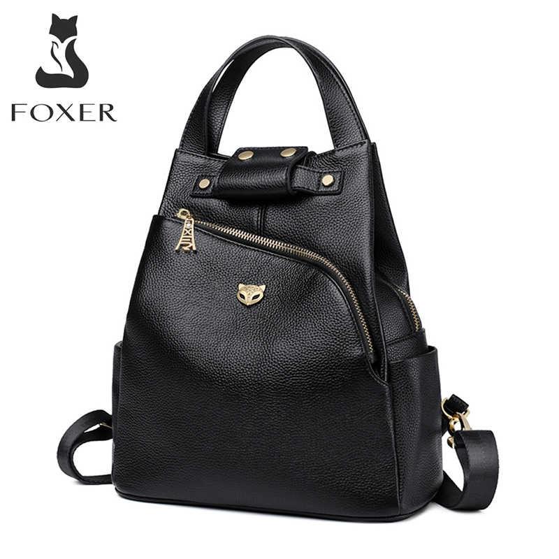 FOXER 브랜드 숙녀 Preppy 스타일 배낭 여성 정품 암소 가죽 배낭 소녀의 학교 가방 여성 패션 여행 가방