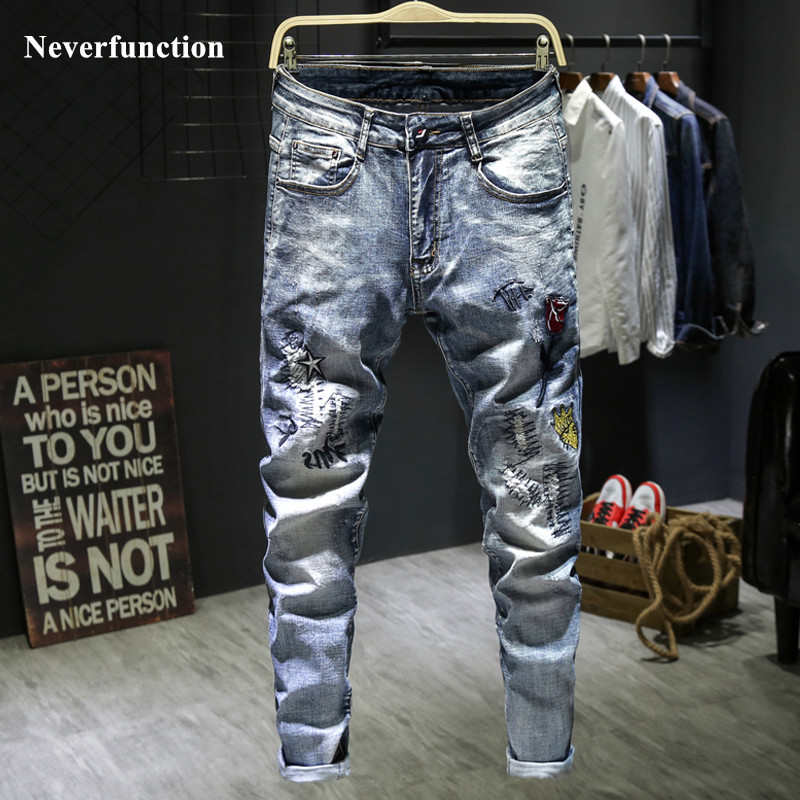 Men Ripped Hip hop embroidery Slim fit Joggers jeans fashion Casual streetwear man cotton Holes Motorcycle Denim Trousers