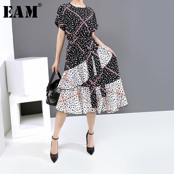 [EAM] Women Black Pattern Printed Asymmetrical Dress New Round Neck Short Sleeve Loose Fit Fashion Tide Spring Summer 2020 1U123
