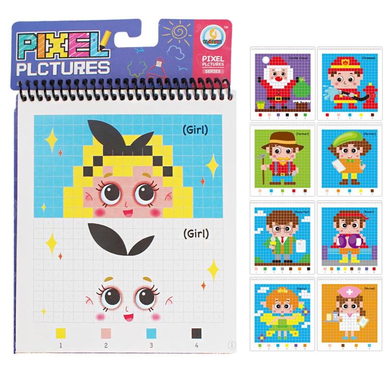New Style Children Pixel Art With Numbers Fill Handmade Painted Book Kindergarten Baby Early Childhood ENLIGHTEN Sketch Book Gif