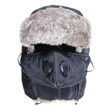 Free Shipping 280G Winter Women and Mens Bomber Hats Fur Ear-Flaps Hats Anti-Fog and Haze Mask Function Bomber Hats Warm Caps free shipping 1pc lot popular crazy panda high quality faux fur hood animal hat with ear flaps and hand pockets 3 in 1 function