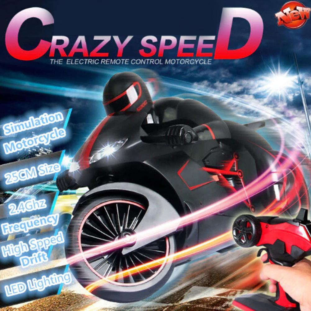 2.4GHz RC Motorcycle Remote Control Drift Motor High Speed RC Motorbike Model With Cool Light Toys for Children Birthday Gift