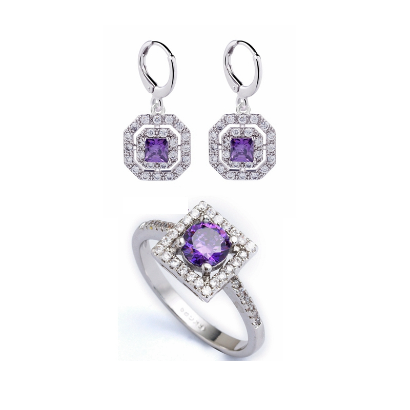 Round Purple CZ Stone Studded 14K White Gold Plated Danglar Earrings For Women Girls Jewelry