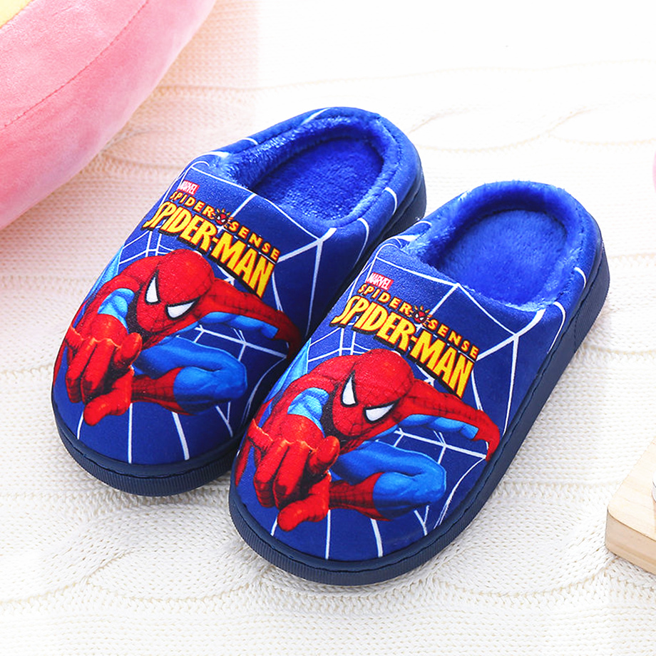 Cotton Warm Children Slippers For Boy Spiderman Cartoon Light Anti-slip Home Shoes Kids Soft Sole Slippers Winter