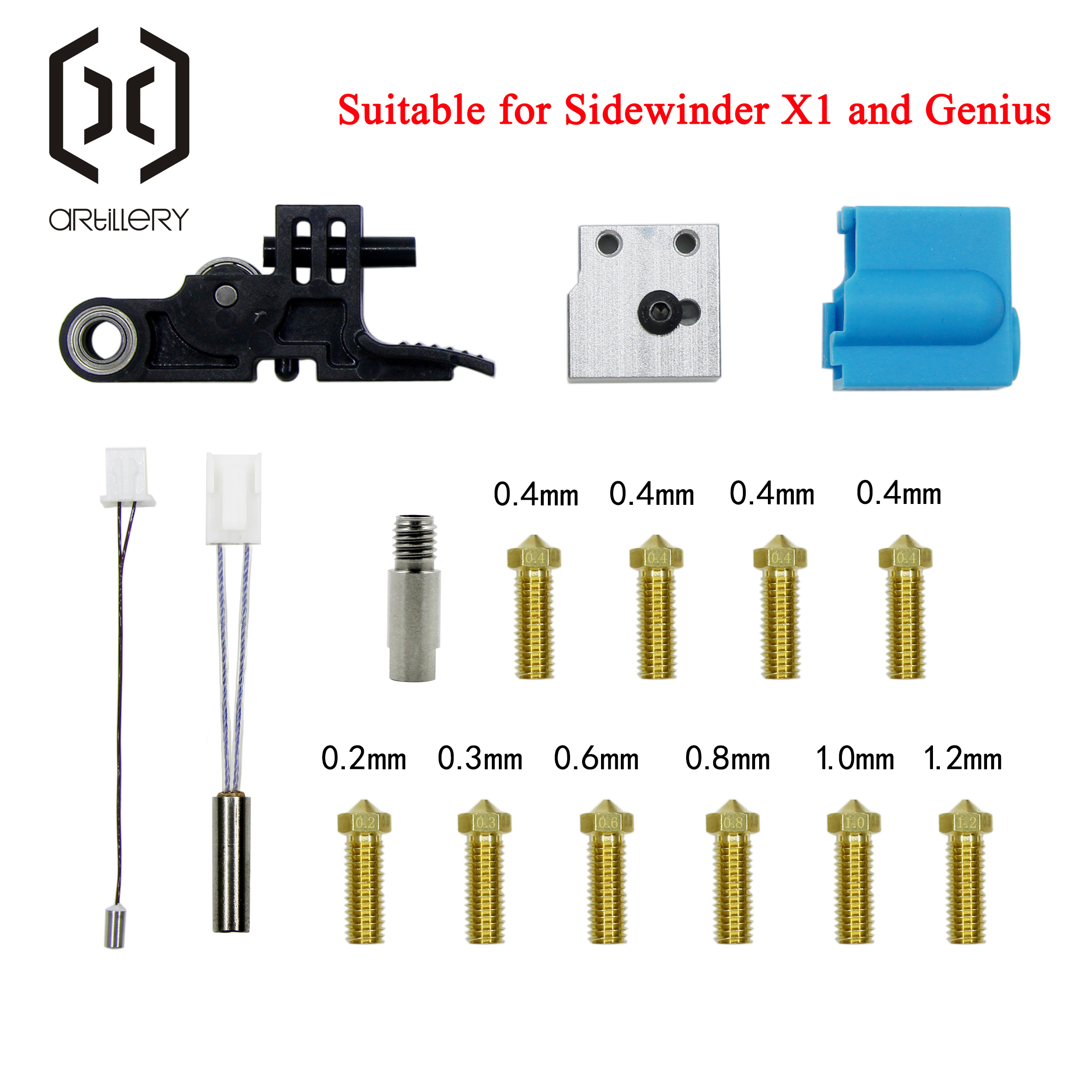 Artillery 3D Printer Sidewinder X1 AND Genius Nozzle Silicone Sleeve Throat Handle Thermistor Heating pipe Heating Block Kit