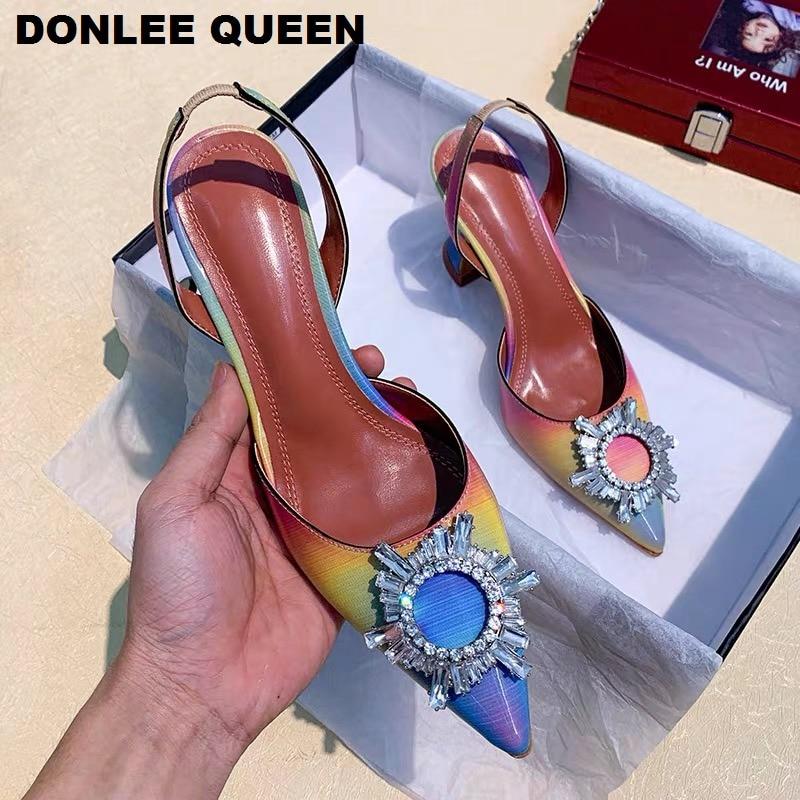 Women Sandals Elegant Pointed Toe Rhinestones High Heels Wedding Shoes Sexy Thin Heeled Slingback Pumps Sandals Mule Shoes Women