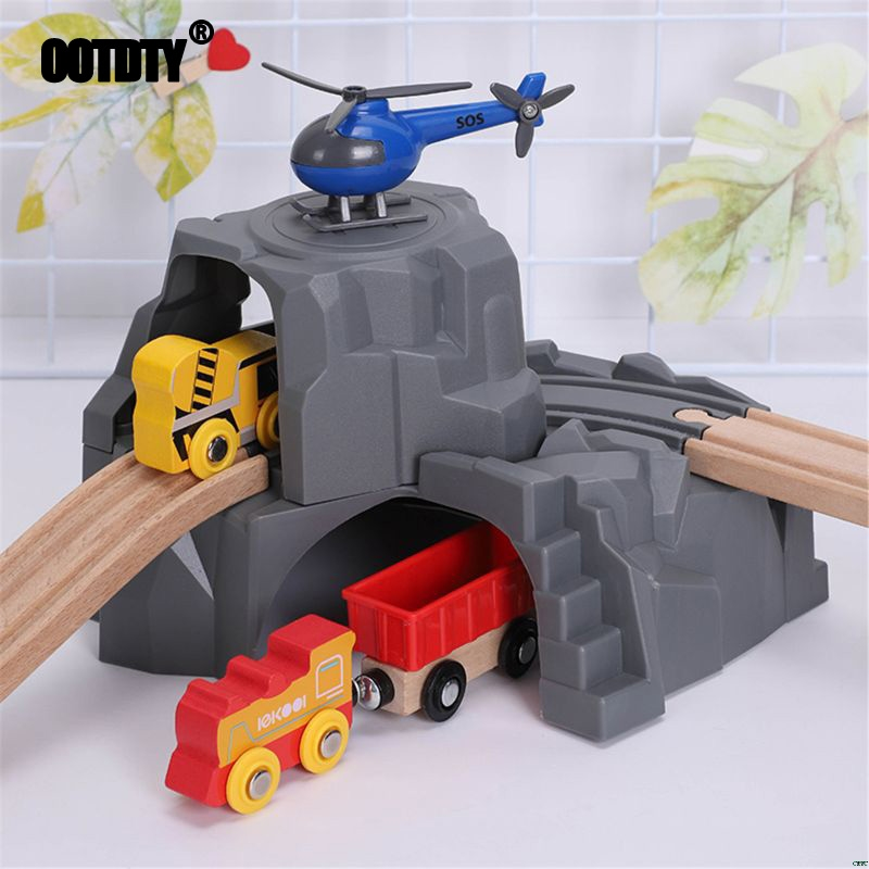 Plastic Grey Double Tunnel Wooden Train Track Accessories For Tunnel Track Train Baby Toys