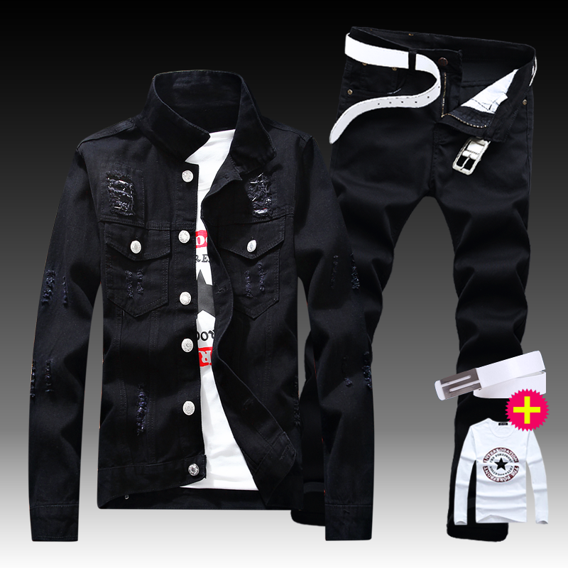 New Men's Denim Jacket Pants 2pcs Set Single Breasted Holes Casual Coat Trousers Slim Fit Cool Boys Jackets A222