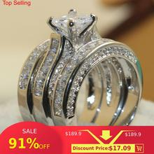 Choucong Wieck Princess Cut, брендовые ювелирные изделия, 925 пробы, серебряные, белые, прозрачные, 5А, CZ камни, свадебные, свадебные, женские кольца, подарок, размер 5-11