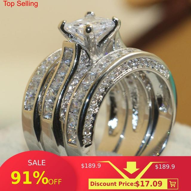 choucong Wieck Princess Cut Brand Jewelry 925 Sterling Silver White Clear 5A CZ stones Wedding Bridal Women Rings Gift Size 5 11