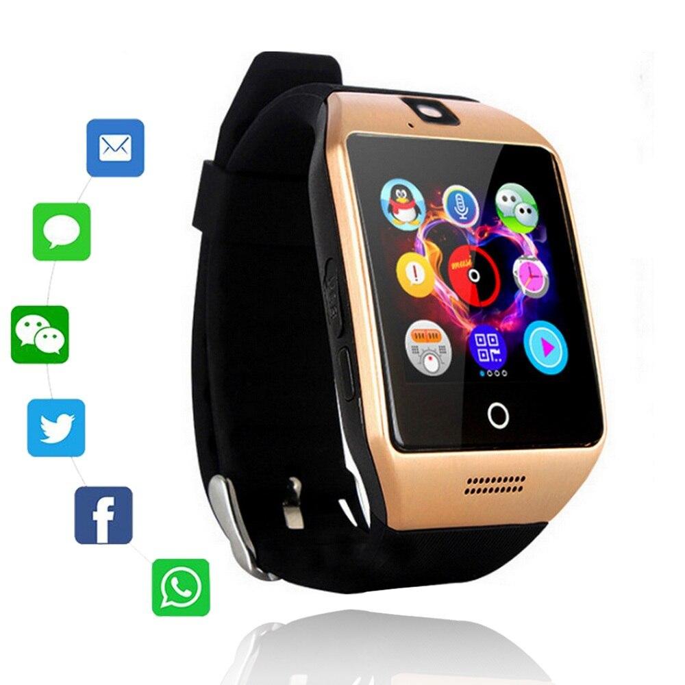 Q18 Bluetooth Smart Uhr Q18 Fitness Tracker Touchscreen Unterstützung APP Download TF Sim Karte Kamera Zifferblatt/Rufen Sie für android Telefon