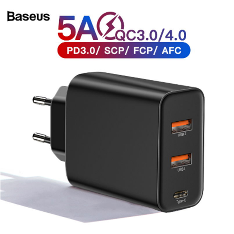 Baseus <font><b>60w</b></font> Quick Charge 4.0 3.0 Multi <font><b>USB</b></font> <font><b>Charger</b></font> For iPhone 11 Pro Max iPad Macbook SCP QC4.0 QC3.0 QC Type C PD Fast <font><b>Charger</b></font> image
