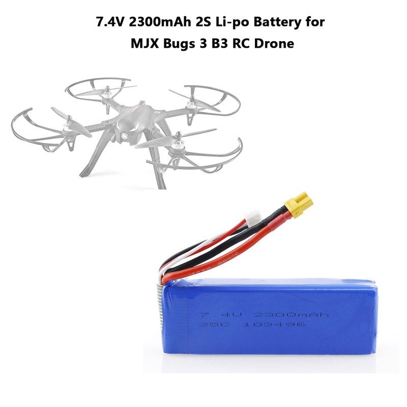 Upgraded <font><b>7.4V</b></font> <font><b>2300mAh</b></font> 2S Li-po Rechargeable <font><b>Battery</b></font> with XT30 Plug Spare Parts Accessories for MJX Bugs 3 B3 RC Drone image