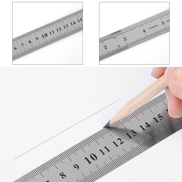 Stainless Steel Metal Ruler 30CM Straight Ruler Measurement Double Sided for Sewing Foot Sewing & School Stationery 2
