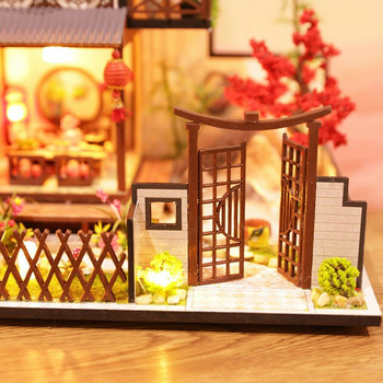 3D Wooden Dollhouses Ancient Town DIY Miniature Model Christmas Gifts Toys for Kids K888