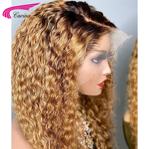 Image 2 - Honey Blonde Ombre Curly Lace Front Human Hair Wigs With Baby Hair 13x6 Lace Front Wig 180% Ombre Brown 360 Lace Frontal Wigs