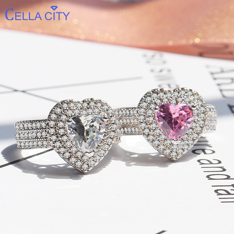Cellacity Heart Shaped Silver 925 Jewelry Gemstones Ring For Women White Pink AAA Zircon Trendy Sweet Female Engagement Rings