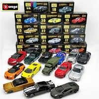 Bburago Eternal Classics, juguetes de tanque de batalla Nissan GT-R Boy, Peugeot, Bugatti, Ford Mustang, Renault, Audi, coche fundido a escala 1:64