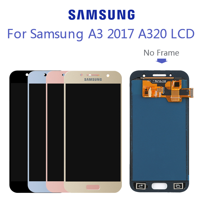 Super <font><b>AMOLED</b></font> LCD For Samsung <font><b>A320</b></font> LCD For Samsung A3 2017 <font><b>A320</b></font> Display LCD Screen Touch Digitizer Assembly 100% Tested image