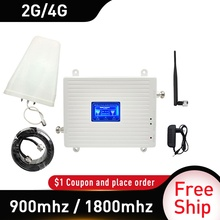 Russia GSM 900 UMTS 1800 mhz Dual Band Repeater 2G 3G 4G LTE Phone Amplifier Cellular Mobile Booster +LPDA whip Antenna