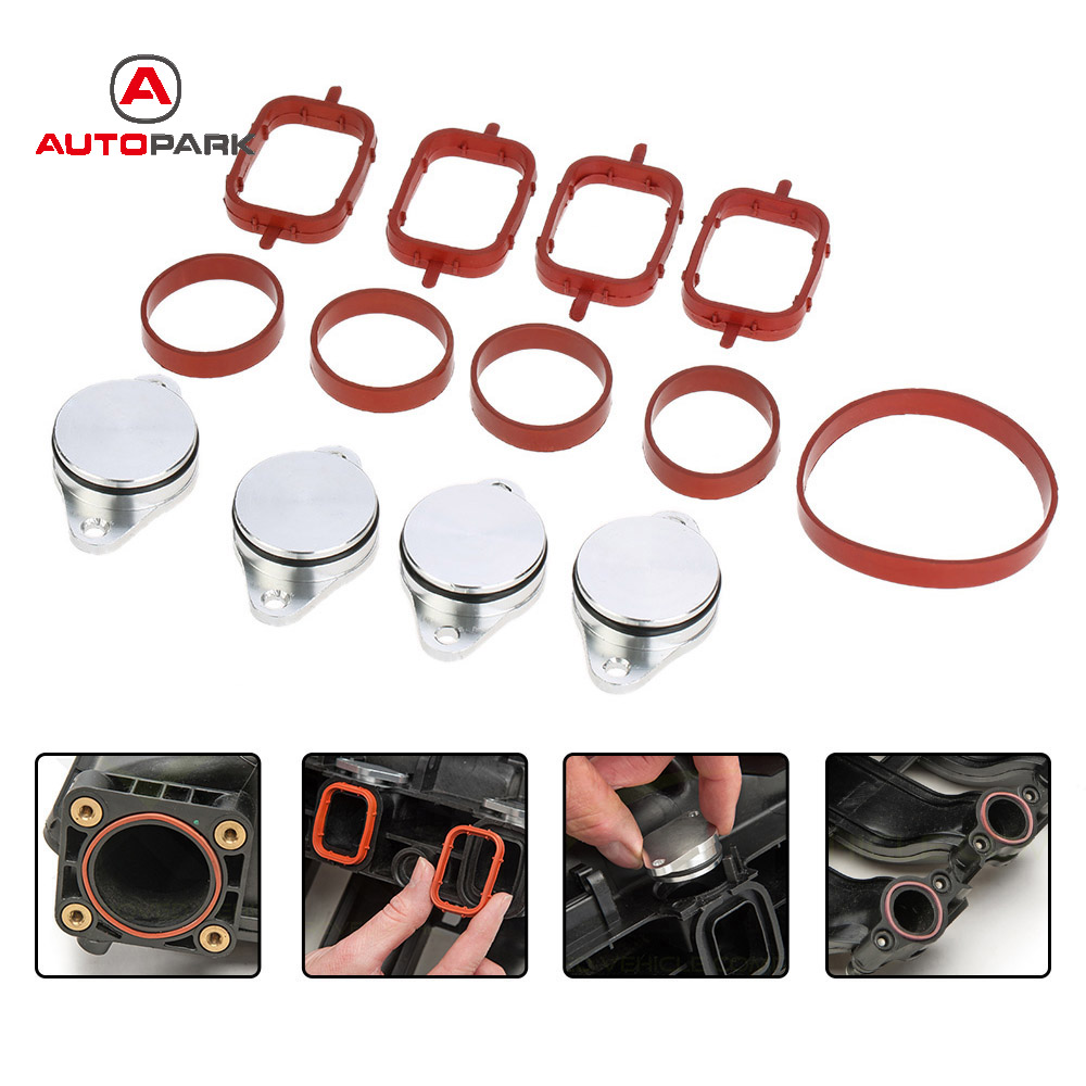 SI-A0136 4 PCS 22mm Diesel Swirl Flap Blank Replacement Bungs With Intake Manifold Gaskets For BMW 320d 330d 520d 525d 530d 730d