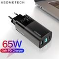 65 Вт USB C GAN зарядное устройство Quick Charge 4,0 3,0 QC4.0 QC PD3.0 USB-C Type C быстрое USB зарядное устройство для Macbook Pro iPhone 12 Samsung ноутбука