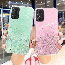 Silicon Case Voor Samsung A52 Gevallen Glitter Epoxy Fundas Samsung A72 A51 A71 A32 A12 A21s A31 A41 A20e A40 a50 A02 A70 A42 Covers