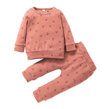 2021 New Baby Girl Pink Sweat Suit Cartoon Cherry Print Tops and Pants Autumn Winter Clothes Set 3-24M