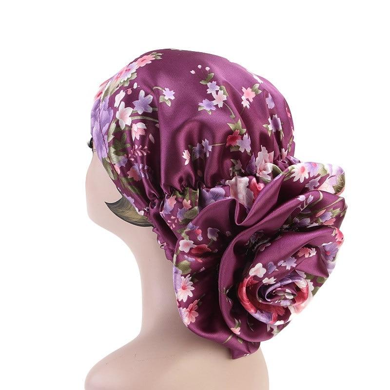 New Women Print Big Rose Muslim Scarf Hijab Hat Islamic Scarves Turbante Femme Headwear Day- Night Sleep Cap Hair Accessories