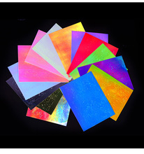 CHIVENIDO 16Colors Holographic Nail Foil Flame Decals Holo Art Sequins Water Slide