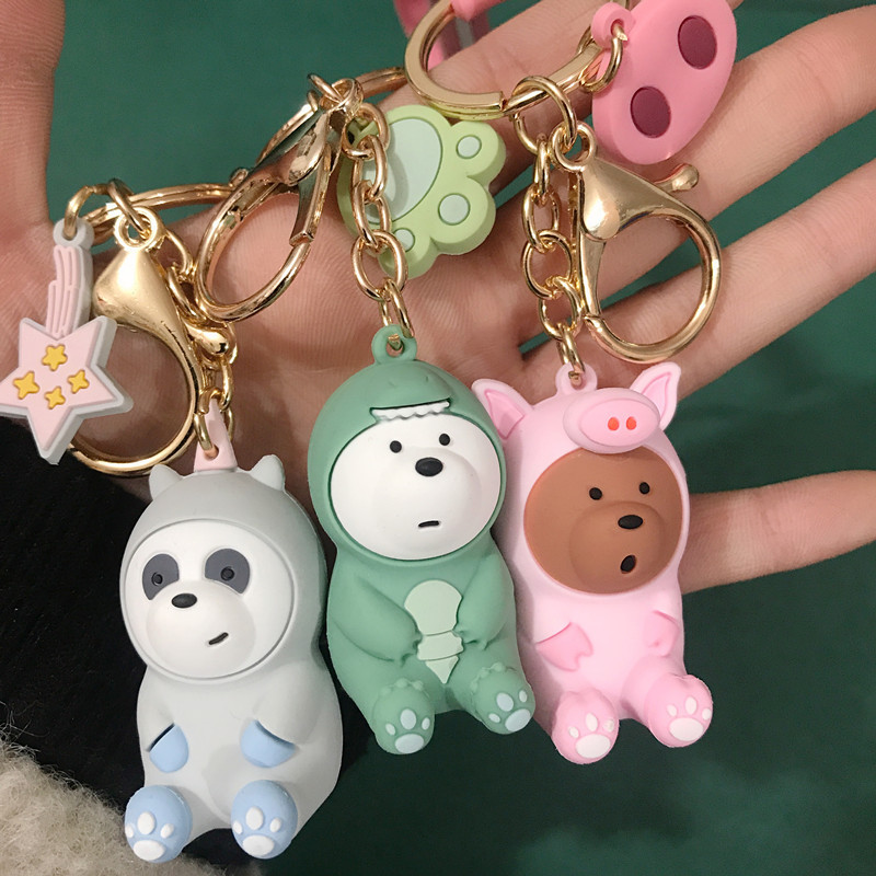 LISTE&LUKE We Bare Bears Lovely Doll Keychain Figures Toy Grizzly Panda Icebear Cosplay Key Ring Pendant Accessories Kids Gift