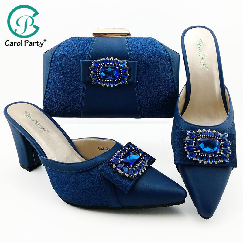 Royal Blue Color African Shoes And Bag Matching Set With Stones Shoes Women Italian Design Shoes And Bag Set For Party Wedding