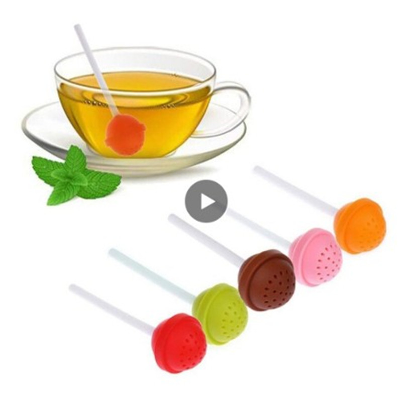 Silicone Tea Infuser Reusable Rubber Strainer Sweet Leaf Drop Tray Novelty Tea Ball Herbal Spice Filter Tea Tool Lollipop Sweet