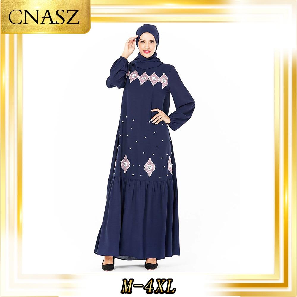 Muslim Dress Islamic Clothing Fashion Large Size Women's Abaya Femme Musulman Autumn Blue Embroidered Beaded Muslim Dress