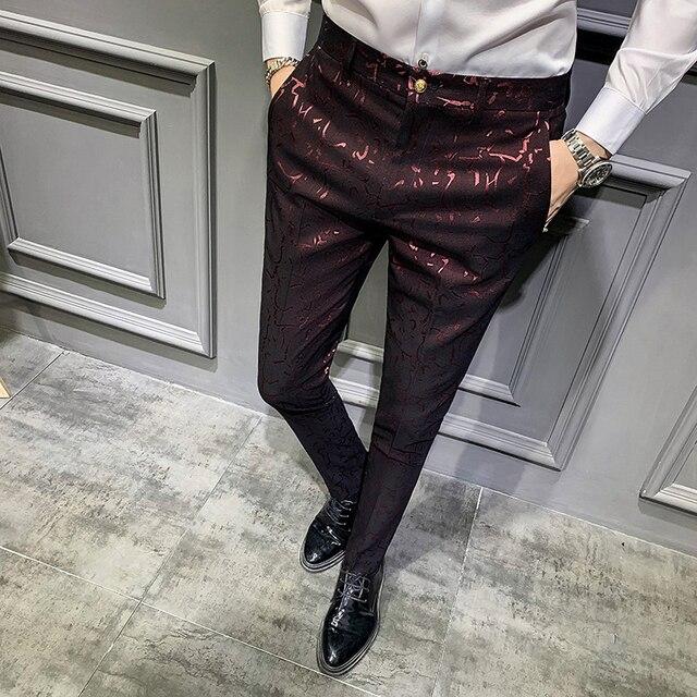 Мужские классические брюки, повседневные облегающие брюки с парфюмом для офиса, осень 2019