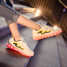 Round Colorful Luminous Students LED Shoes Comfortable Shallow Korean Version Travel Sport Women Summer Chaussure