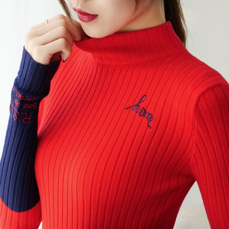 Korean Fashion Knitted Sweater Women Turtleneck Long Sleeve Knit Women Sweater Plus Size XL Autumn Women Sweaters And Pullovers
