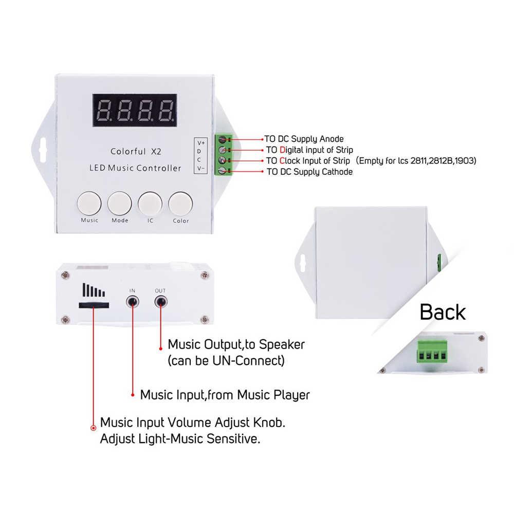 WS2812B WS2811 WS2813 6803 USC1903 IC 1000 píxeles controlador de música LED colorido X2 Digital direccionable tira LED RF remoto DC
