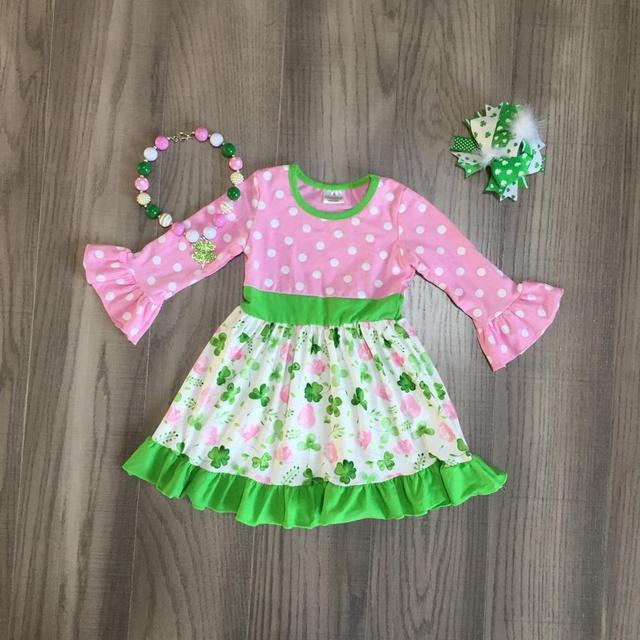 ربيع عيد القديس باتريك الفتيات طفل ملابس الأطفال القطن الوردي الأخضر الكشكشة شامروكس فستان الركبة طول مباراة اكسسوارات