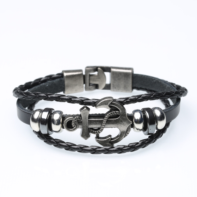 Alloy anchor woven leather bracelet double buckle leather bracelet wholesale leather bracelet