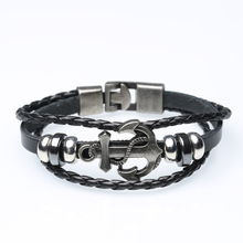 Alloy anchor woven leather bracelet double buckle leather bracelet wholesale leather bracelet