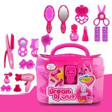 Kuulee Kids Beauty Salon Toys Beauty Case with Hairdryer Comb Perfume Bottle Lipstick Girls Pretend Play Toys Set