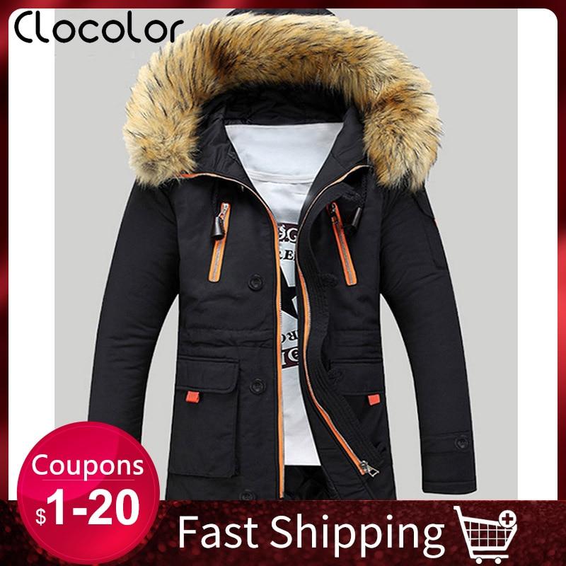 Men Jacket Winter Thick Warmness Basic Jackets Oversize Zipper Black Outwear Hood Casual Parka Coat Parkas Cotton Men's Clothing