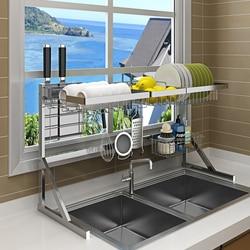 فوق بالوعة رف لتجفيف الأطباق المطبخ تجفيف الرف للأطباق وعاء الفولاذ المقاوم للصدأ تخزين مكافحة منظم على بالوعة الفضاء التوقف