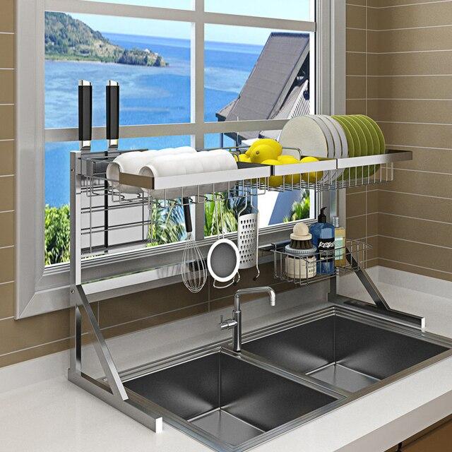 Évier, étagère pour le séchage de la vaisselle, support pour la vaisselle, gain de place, en acier inoxydable