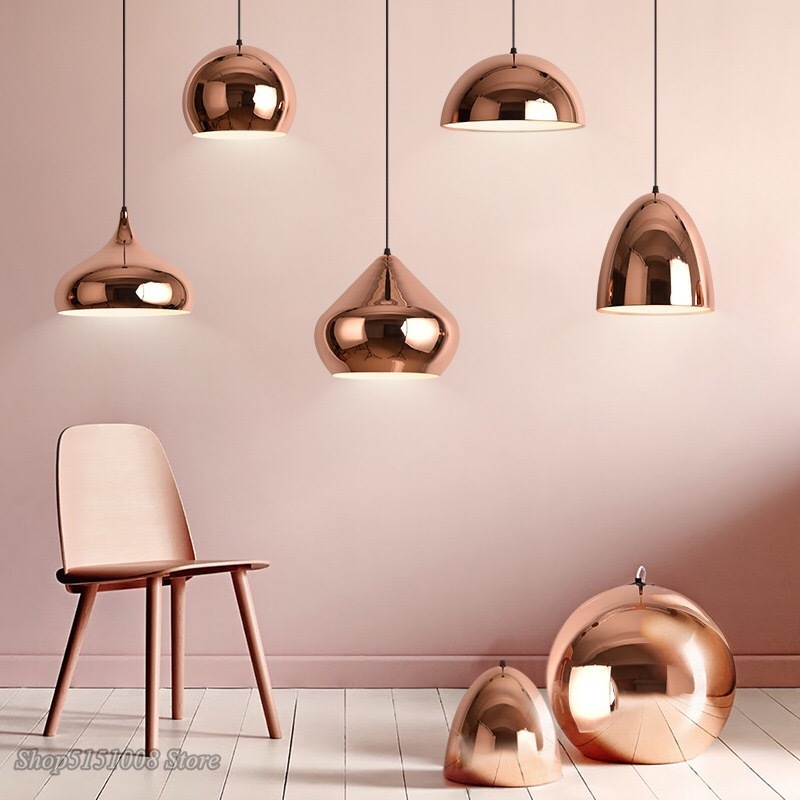 Nordic Rose Gold Pendant Lights Luxury Mirror Lampshade Hemisphere Pendant Lamp Restaurant Bar Living Room Hanging Light Fixture