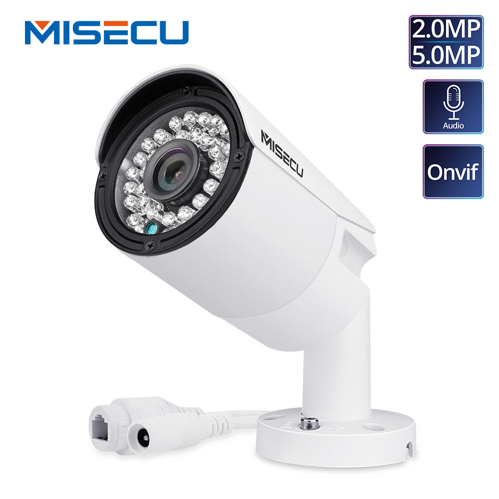 MISECU H.265 Full HD 2MP 5MP Security Audio IP Camera 1080P Metal Waterproof POE ONVIF Bullet Outdoor CCTV Surveillance Cameraip cameraonvif ip cameraonvif ip -